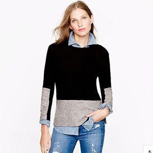 J Crew Cashmere Blend Woven Colorblock Sweater